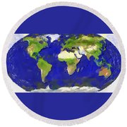 Round Beach Towel featuring the painting Global Map Painting by Georgi Dimitrov