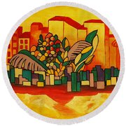 Global Warning Round Beach Towel by Barbara St Jean