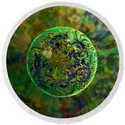 Round Beach Towel featuring the digital art Globing Earth Irises by Robin Moline