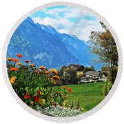 Glorious Alpine Meadow Round Beach Towel