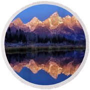 Round Beach Towel featuring the photograph Glorious Morning Panorama by Benjamin Yeager