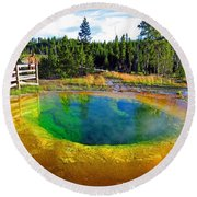 Glory Pool Yellowstone National Park Round Beach Towel