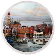 Gloucester Harbor Round Beach Towel by Eileen Patten Oliver