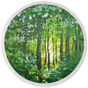 Round Beach Towel featuring the painting Glow by Karen Ilari