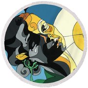 Glow Of Beauty - Painting With Hidden Pictures Round Beach Towel