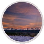 Glow Of Morning Round Beach Towel