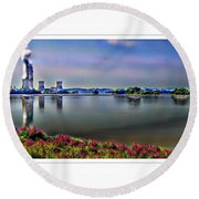 Glowing 3 Mile Island Round Beach Towel
