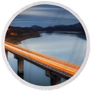 Glowing Bridge Round Beach Towel