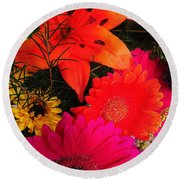 Round Beach Towel featuring the photograph Glowing Bright by Meghan at FireBonnet Art