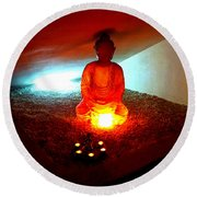 Glowing Buddha Round Beach Towel