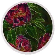 Glowing Camellia Round Beach Towel
