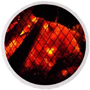 Round Beach Towel featuring the photograph Glowing Embers by Darren Robinson