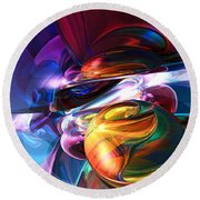 Glowing Life Abstract Round Beach Towel
