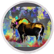 Electric Moose Round Beach Towel