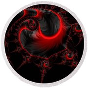 Glowing Red And Black Abstract Fractal Art Round Beach Towel