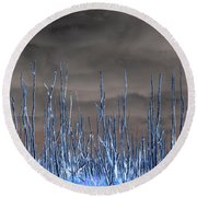 Glowing Trees 1 Round Beach Towel