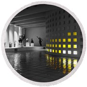 Round Beach Towel featuring the photograph Glowing Wall Color Spash Black And White by Shawn O'Brien
