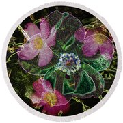 Glowing Wild Rose Round Beach Towel