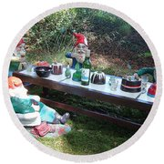 Gnome Cooking Round Beach Towel by Richard Brookes