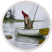 Gnome Fisherman In A White Maine Boat On A Foggy Morning Round Beach Towel