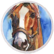 Horse Painting Of California Chrome Go Chrome Round Beach Towel by Maria's Watercolor