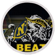 Go Navy Beat Army Round Beach Towel by Mountain Dreams