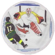Round Beach Towel featuring the drawing Shut Out By Jrr by First Star Art