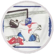 Round Beach Towel featuring the drawing Goalie By Jrr by First Star Art