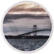 Goat Island Lighthouse And Newport Bridge Round Beach Towel by Joan Carroll