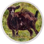 Goat Piggybackers Round Beach Towel