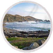 Goat Rock State Beach On The Pacific Ocean Near Outlet Of Russian River-ca  Round Beach Towel