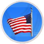 Round Beach Towel featuring the photograph God Bless America by Judy Palkimas