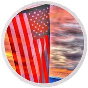 God Bless America Over Puget Sound Round Beach Towel