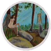 Round Beach Towel featuring the painting God Calls His Angels by Cassie Sears