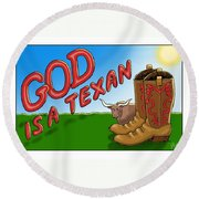 God Is A Texan Round Beach Towel