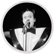 God Klaus Nomi Round Beach Towel by Steven Macanka