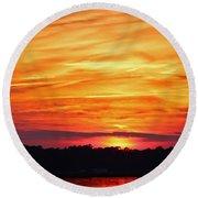 God Paints The Sky Round Beach Towel