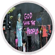 God Save The People Round Beach Towel