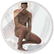 God Sees Everything  Round Beach Towel