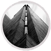 Goddard Stair Tower - Black And White Round Beach Towel by Joseph Skompski