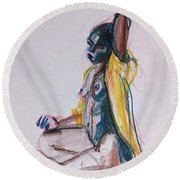 Round Beach Towel featuring the drawing Goddess by Gabrielle Wilson-Sealy