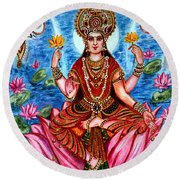 Goddess Lakshmi Round Beach Towel