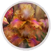 Goddess Of Sunrise Round Beach Towel by Carol Cavalaris