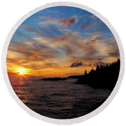 Round Beach Towel featuring the photograph God's Morning Painting by Bonfire Photography