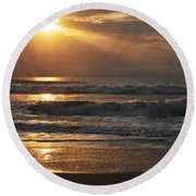 God's Rays Round Beach Towel