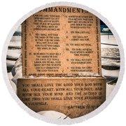 God's Ten Commandments Round Beach Towel