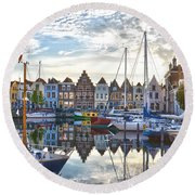 Round Beach Towel featuring the photograph Goes Harbour by Frans Blok
