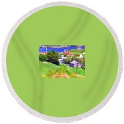Going Down To Town Round Beach Towel
