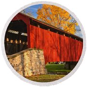 Gold Above The Poole Forge Covered Bridge Round Beach Towel