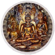 Gold Buddha Round Beach Towel